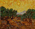 vincent van gogh olive trees with yellow sun and sky painting