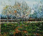 vincent van gogh orchard in blossom plum trees painting-23583