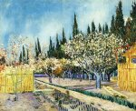 vincent van gogh orchard surrounded by cypresses painting