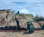 vincent van gogh peasant woman digging in front of her cottage painting-23604