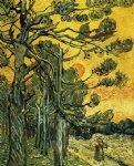 vincent van gogh pine trees against an evening sky painting-23611