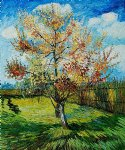 vincent van gogh pink peach tree in blossom painting-23614