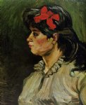 vincent van gogh portrait of a woman with a red ribbon painting 23632