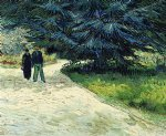 vincent van gogh public garden with couple and blue fir tree the poet s garden iii painting-23663