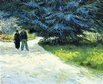 vincent van gogh public garden with couple and blue fir tree painting-23664