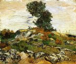 vincent van gogh rocks with oak tree painting-23677