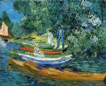 vincent van gogh rowing boats on the banks of the oise painting