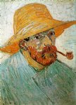 vincent van gogh self portrait with pipe and straw hat ii painting-23699