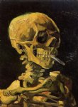 skull watercolor paintings - skull with burning cigarette by vincent van gogh
