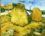 farm watercolor paintings - stacks of wheat near a farmhouse by vincent van gogh