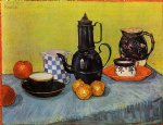 vincent van gogh still life blue enamel coffeepot earthenware and fruit painting