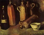 vincent van gogh still life with four stone bottles flask and white cup painting 23733