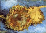 flowers posters - still life with two sunflowers by vincent van gogh