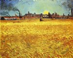 vincent van gogh summer evening wheatfield with setting sun painting