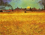 sunset wheat fields near arles by vincent van gogh painting