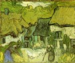 thatched cottages in jorgus by vincent van gogh painting
