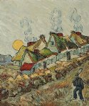 vincent van gogh thatched cottages in the sunshine reminiscences of the north painting-23763