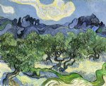 the alpilles with olive trees in the foreground by vincent van gogh painting