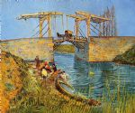 the langlois bridge at arles with women washing by vincent van gogh watercolor paintings
