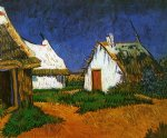 vincent van gogh three white cottages in saintes painting-23859