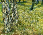 vincent van gogh tree trunks in the grass painting-23860