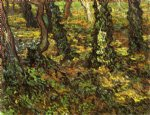 vincent van gogh tree trunks with ivy painting-23861