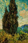 two cypresses ii by vincent van gogh painting