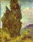 vincent van gogh two cypresses saint remy painting