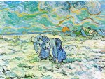 women art - two peasant women digging in field with snow by vincent van gogh