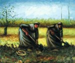 women art - two peasant women digging potatoes by vincent van gogh