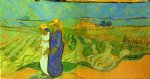 women art - two women crossing the fields by vincent van gogh