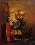 rose art - vase with carnations and roses and a bottle by vincent van gogh