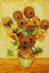 vase with fifteen sunflowers by vincent van gogh painting