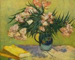 vincent van gogh acrylic paintings - vase with oleanders and books by vincent van gogh