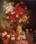 vincent van gogh vase with poppies cornflowers peonies and chrysanthemums painting 23892