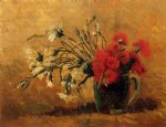 vincent van gogh vase with red and white carnations on a yellow background painting