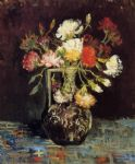 vincent van gogh vase with white and red carnations posters