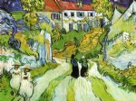vincent van gogh village street and steps in auvers with figures painting-23924