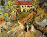 vincent van gogh village street and steps in auvers with two figures painting-23925