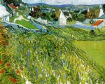 handmade art - vineyards with a view of auvers by vincent van gogh