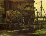 water print - water wheels of mill at gennep by vincent van gogh