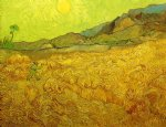 vincent van gogh wheat fields with reaper at sunrise painting 23956