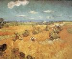 vincent van gogh wheat stacks with reaper paintings
