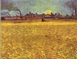 vincent van gogh wheatfield at sunset posters