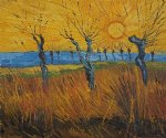 willows at sunset ii by vincent van gogh painting