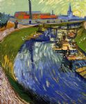 vincent van gogh women washing on a canal posters