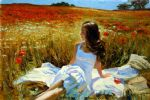 vladimir volegov picnic amongst the poppies painting 85690
