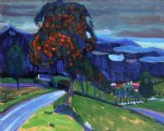 autumn near murnau by wassily kandinsky watercolor paintings