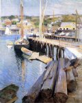 willard leroy metcalf acrylic paintings - fish wharves by willard leroy metcalf