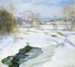 icebound brook by willard leroy metcalf acrylic paintings